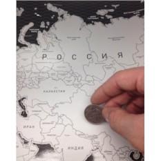 Черная скретч-карта мира на русском языке