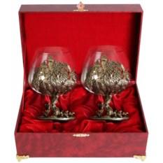 Набор бокалов для коньяка Охота на глухаря в шкатулке