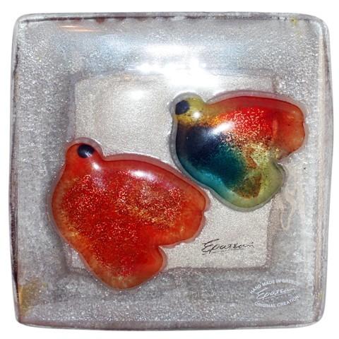 Картина из стекла «Радужные птицы»