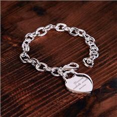 Женский браслет Сердце на замке с гравировкой