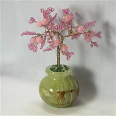Дерево счастья из розового кварца в вазочке из оникса