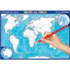 Пазл-раскраска «Карта Мира»