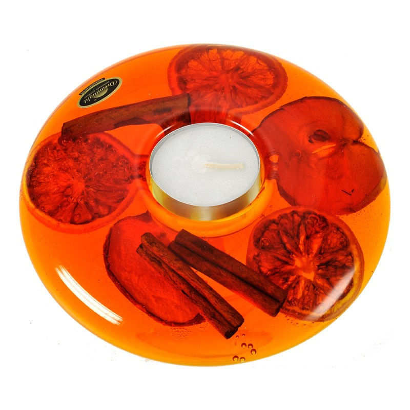 Подсвечник Фрукты+корица оранжевый