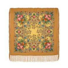 Павловопосадский шерстяной платок с шелковой бахромой Марья-искусница, 89х89 см