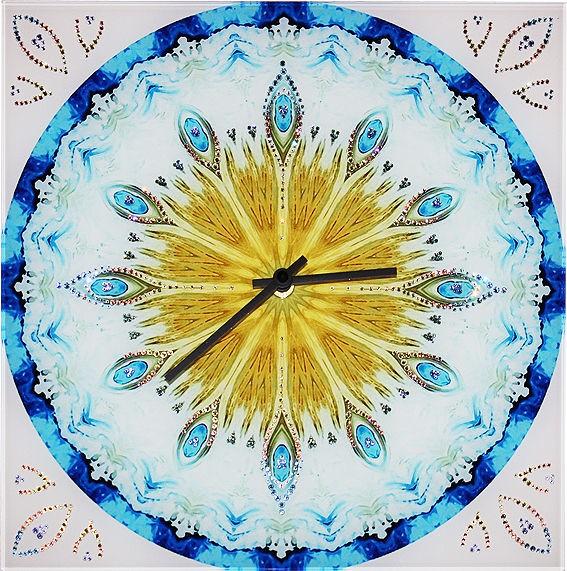 Часы с кристаллами сваровски Павлинье перо