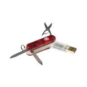 Нож-брелок Swissmemory полупрозрачный красный