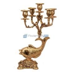 Пара золотых канделябров из бронзы на 5 свечей Рыба