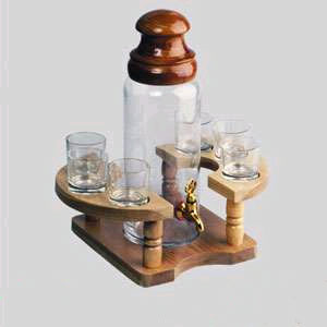 Бутыль на подставке с 6 стаканчиками