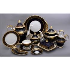 Фарфоровый чайный сервиз на 54 предмета Симфония Кобальт