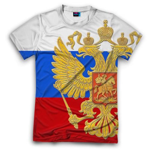 Мужская футболка 3D с полной запечаткой Флаг и герб РФ