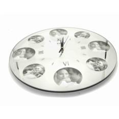 Зеркальные часы с фоторамками