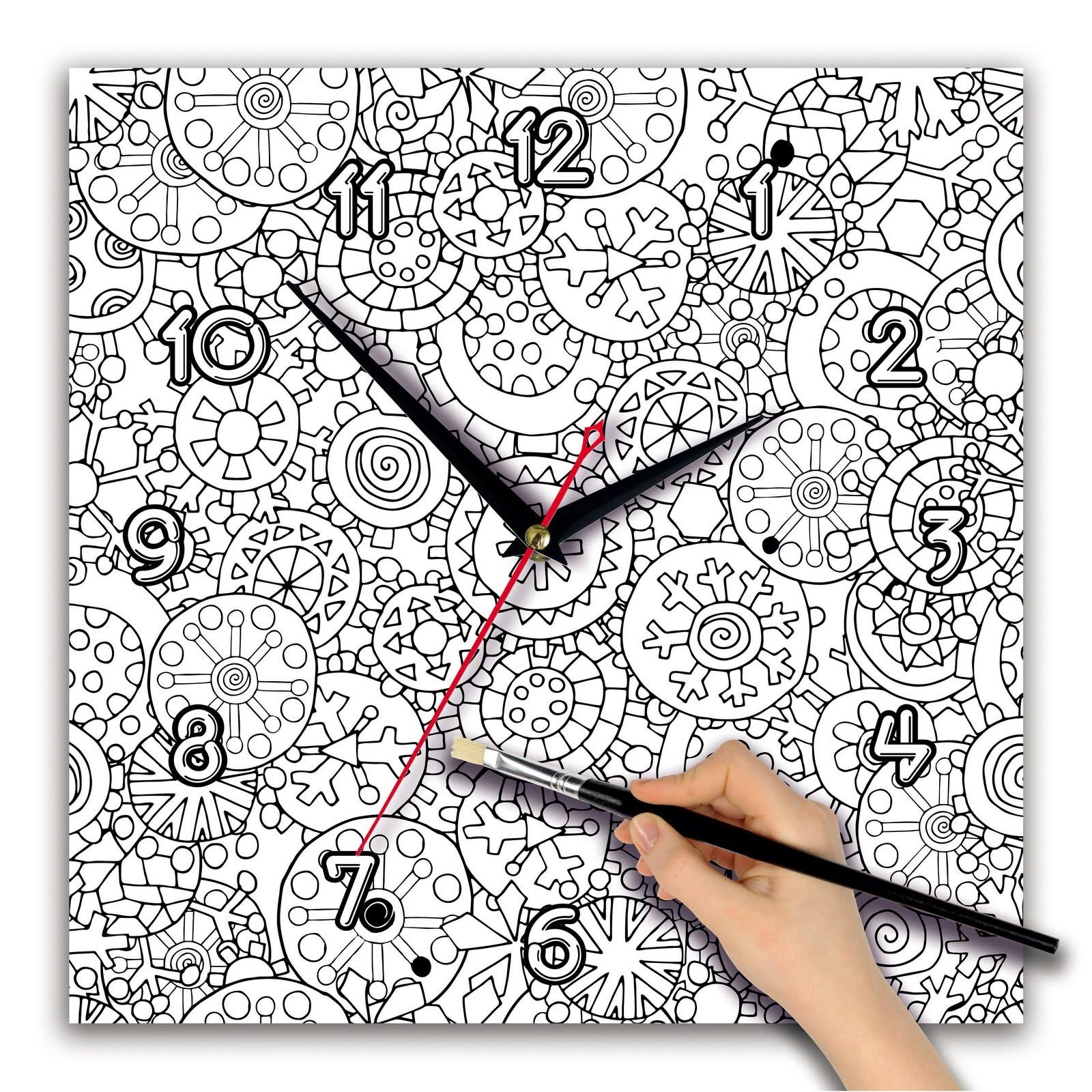 Часы-раскраска квадратной формы