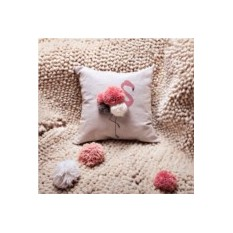 Декоративная льняная подушка Фламинго с помпонами