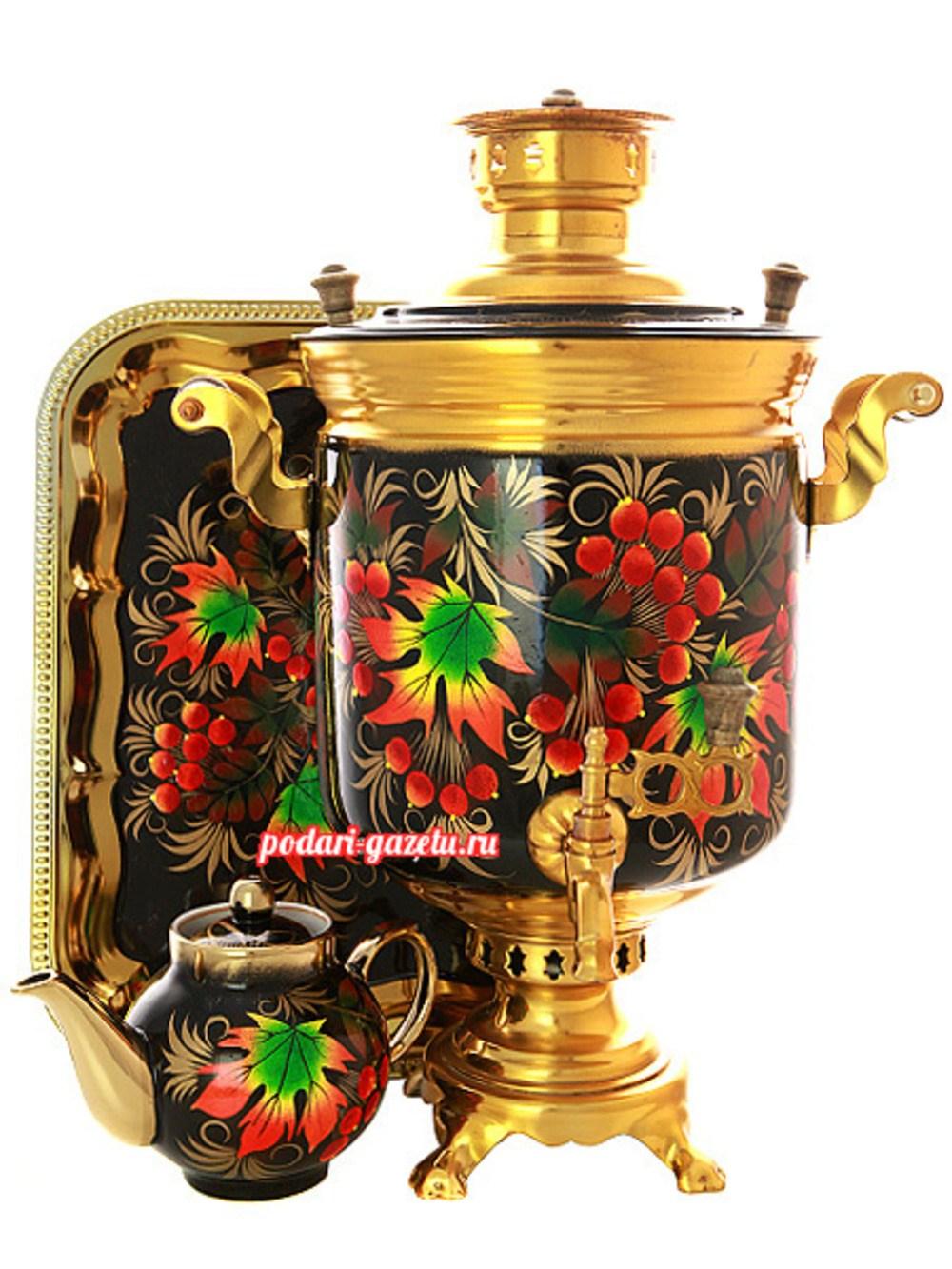 Набор: Тульский угольный самовар (жаровый, дровяной) на 5 литров, цилиндр с художественной росписью Клен