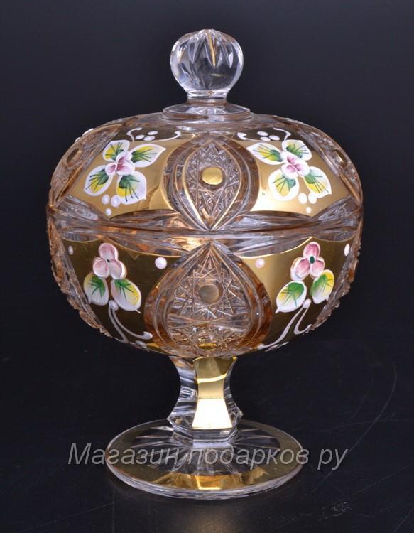 Конфетница с крышкой Bohemia Яхами, золото, 11,6 см