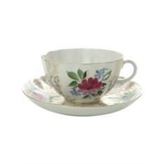 Фарфоровая чайная чашка с блюдцем Золотые травки