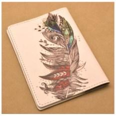 Кожаная обложка для паспорта (Белый,  Цветное перышко) «Промо», коллекция G.Design.