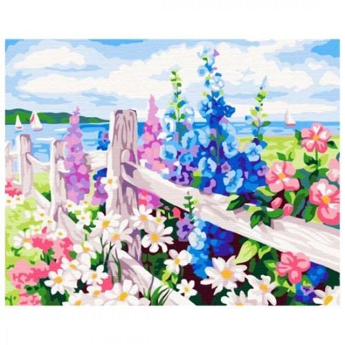 Картина-раскраска по номерам на холсте Цветник