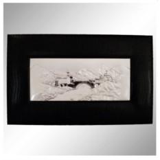 Декоративное панно в рамке с кожанной отделкой Родное село