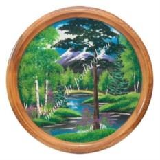 Панно из каменной крошки на тарелке Летний пейзаж (60 см)