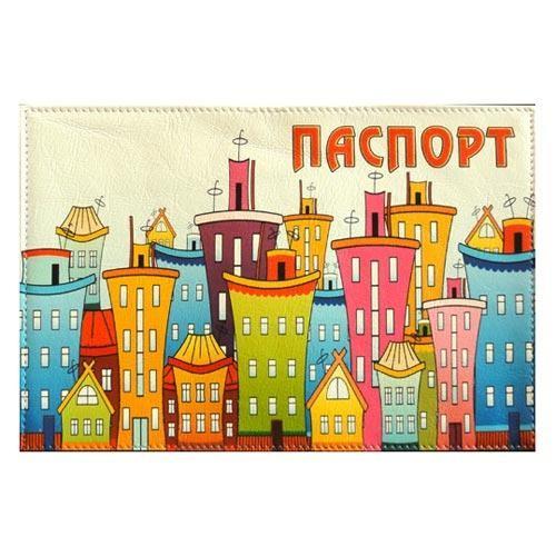 Обложка кожаная на паспорт Город