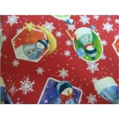 Упаковочная бумага со снеговиками Новогодняя (100х70 см)