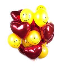 Облако из шаров Красные сердца со смайлами
