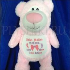 Мягкая именная игрушка Розовый медвежонок