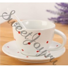 Чашка с блюдцем и ложкой ibbon Dots White