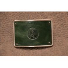 Пряжка для ремня с кожаной вставкой. Коллекция G.Design (зеленый, римский воин; нат. кожа)