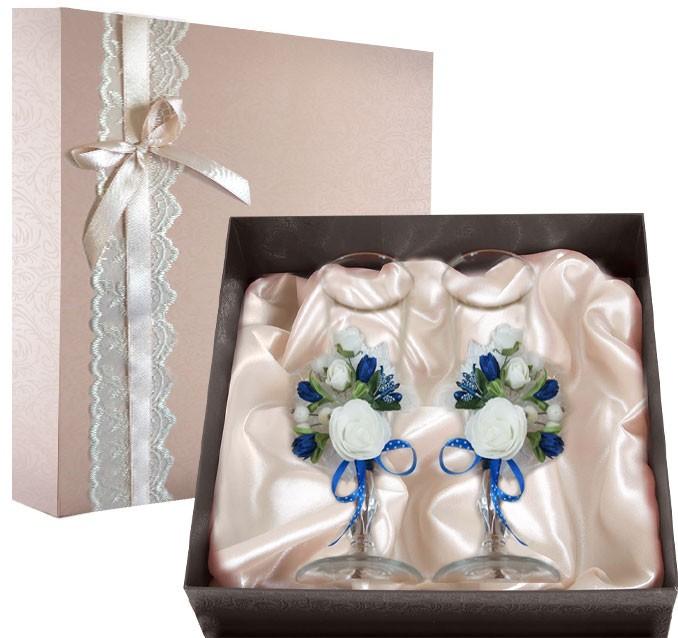 Набор свадебных бокалов в подарочной коробке Ретро №1