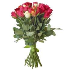 Букет из 25 разноцветных роз Микс 40 см