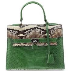 Зеленая сумка из кожи питона и варана Hermes