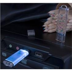 Прозрачная флешка Shine с синей подсветкой на 4 Gb