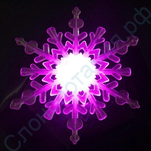 Новогоднее украшение ночник Снежинка на присоске