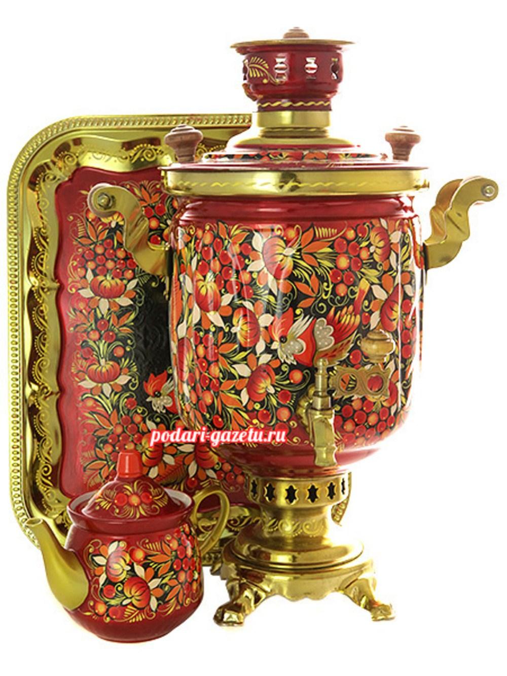Комбинированный самовар с росписью Птица, рябина, цветы
