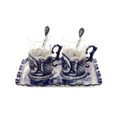 Чайный набор на 2 персоны с Гжельской росписью Подарочный