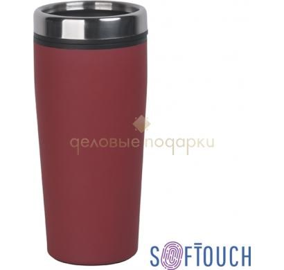 Термостакан с покрытием soft touch Европа (красный)