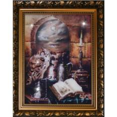 Картина с кристаллами Swarowski Филин на книгах