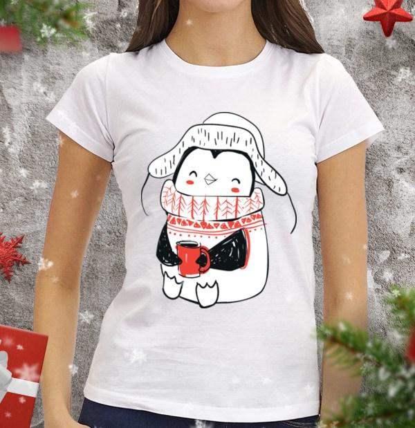 Женская футболка Пингви с кружкой чая