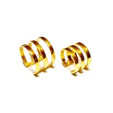Кольца на две фаланги пальцев Трио (позолоченное серебро)