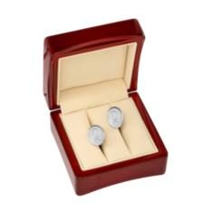 Серебряные овальные запонки с гравировкой