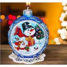 Новогодняя свеча «Веселый снеговик»