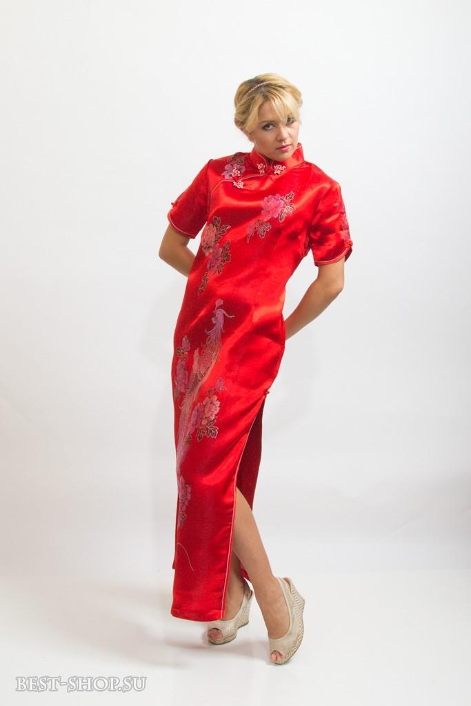 Китайское платье ципао, длинное