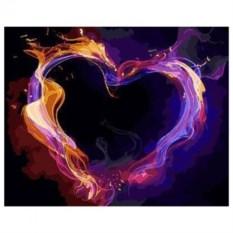 Картина-раскраска по номерам Огненное сердце