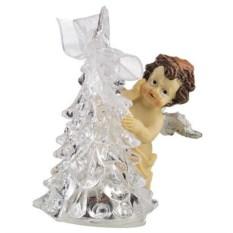 Фигурка с led-подсветкой Ангелочек с елочкой