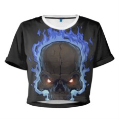 Женская укороченная футболка Fire Skull