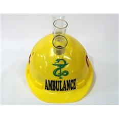 Каска с рюмками Ambulance со змеей желтая.