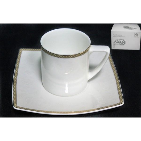 Чашка с блюдцем Galaxy gold, костяной фарфор.