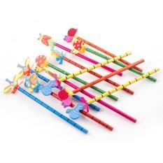 Набор из 12 деревянных карандашей на пружинке